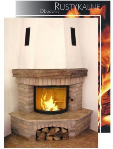 kominek rystykalny z cegły i drewna